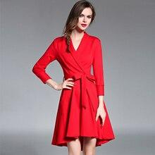 OL Style Irregular Autumn Bandage Dress Woman Dress 2017 Ukraine Big Swing Red Long Party Dresses Robe Femme Ropa Mujer 72165