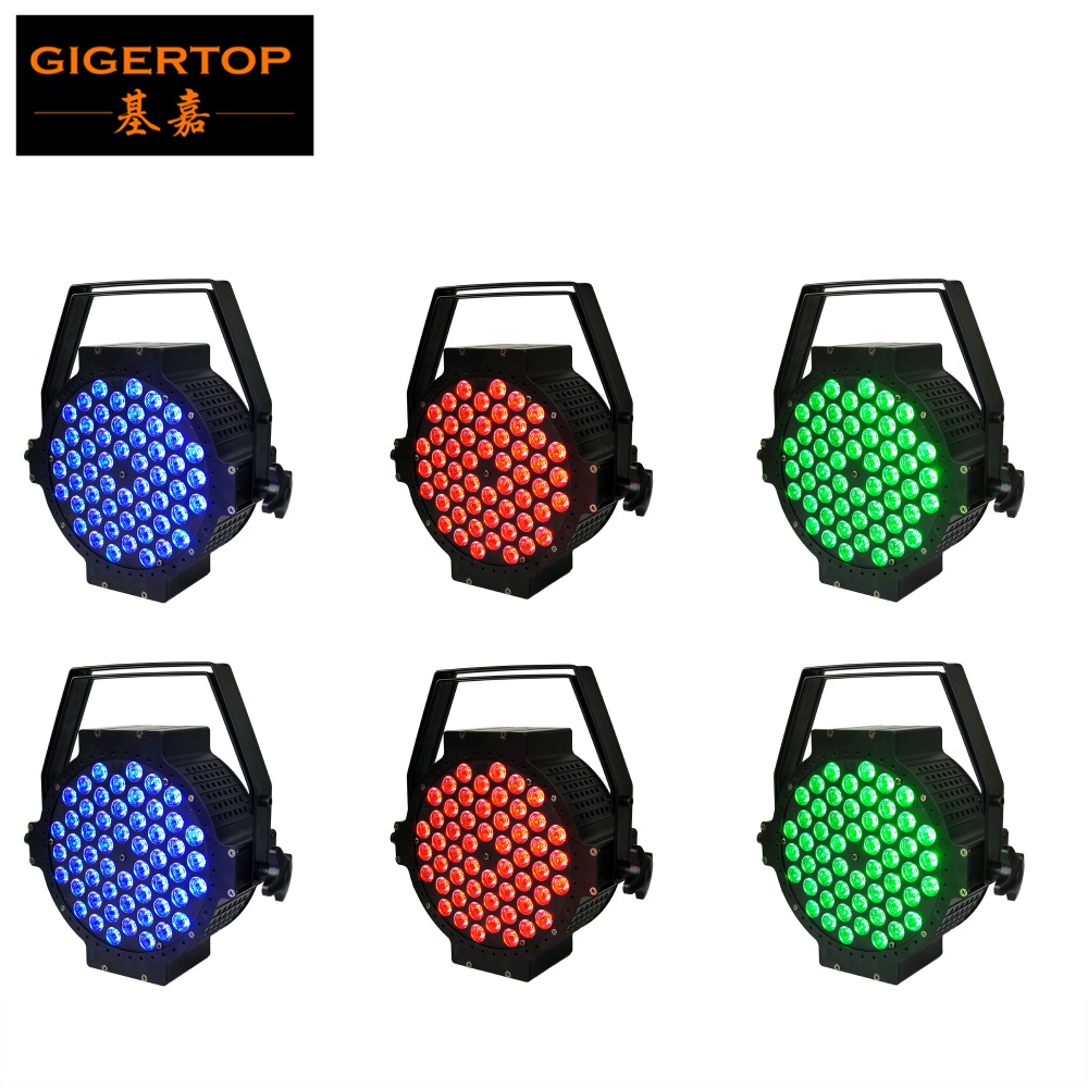 Freeshipping 6pcs/lot Aluminum Housing RGBW Flat Led Par Light 54pcs 3W 3in1 Led Lamps Hand in Hand Power DMX Cables 7 Channels hand in hand