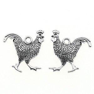 WYSIWYG 3 шт 24x22 мм Петух Курица Шарм Подвески для изготовления ювелирных изделий петух кулоны Петух