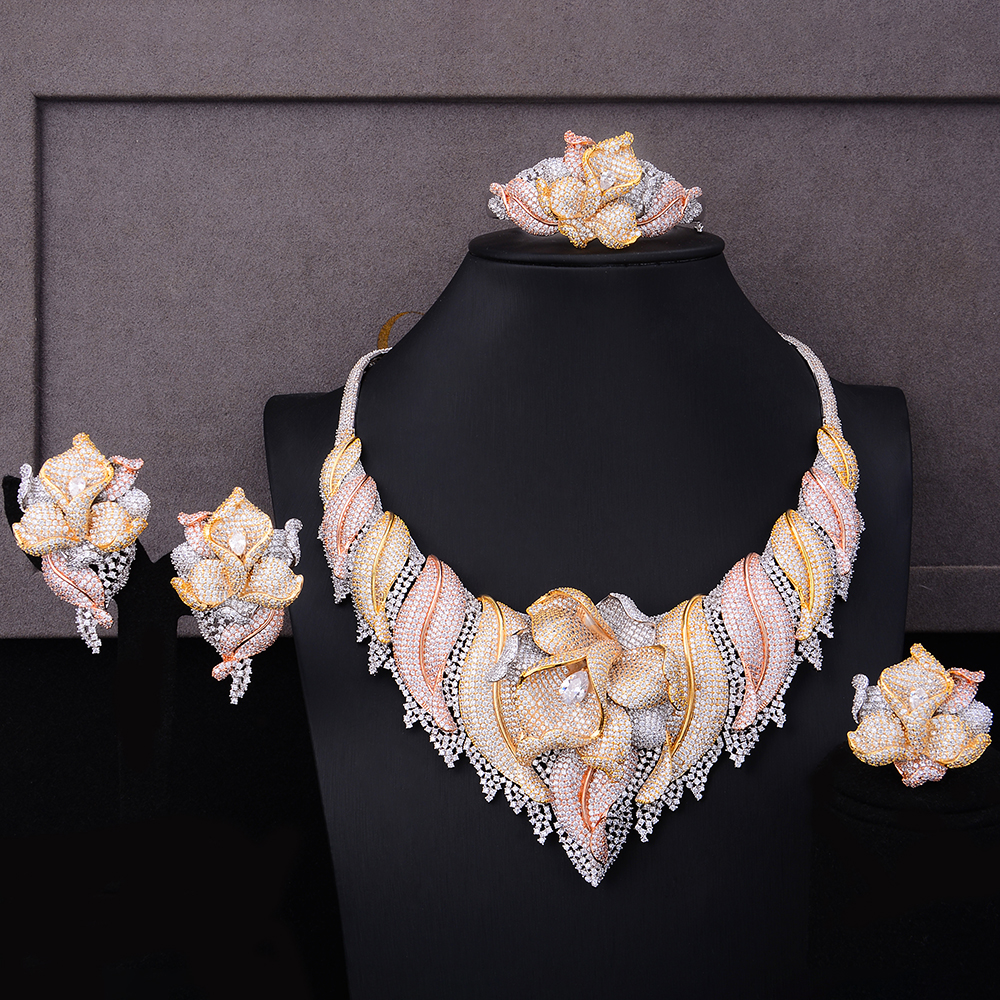 GODKI Trendy Luxury 4PCS Flower Nigeria Statement Jewelry Sets For Women Wedding Full Cubic Zircon Dubai