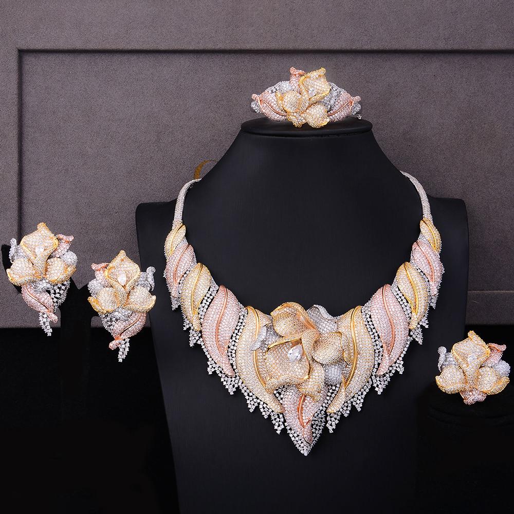 GODKI Trendy Luxury 4PCS Flower Nigeria Statement Jewelry Sets For Women Wedding Full Cubic Zircon Dubai Bridal jewelry Set 2019-in Jewelry Sets from Jewelry & Accessories