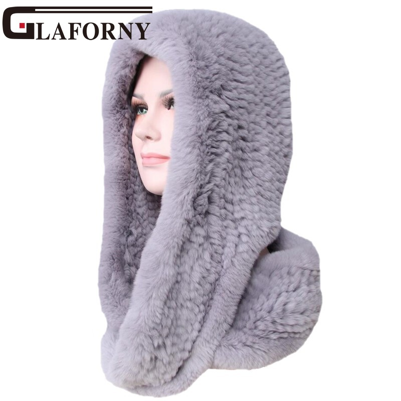 Glaforny 2018 Knitted Real Rex Rabbit Fur Hat Ear Muff Earwarmer Scarf Cap Soft and Fashionable 2 Use 25 Colors