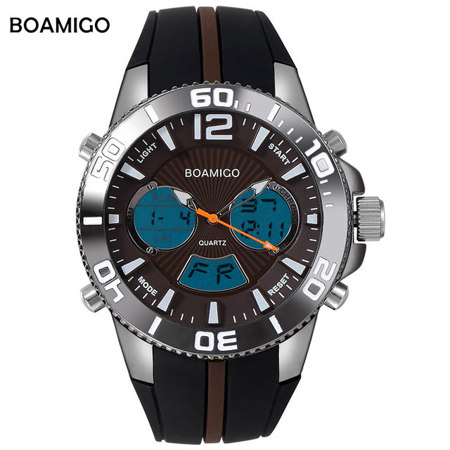 men sports watches military digital watches analog quartz watch LED dual display rubber brown clock 30M waterproof wristwatches