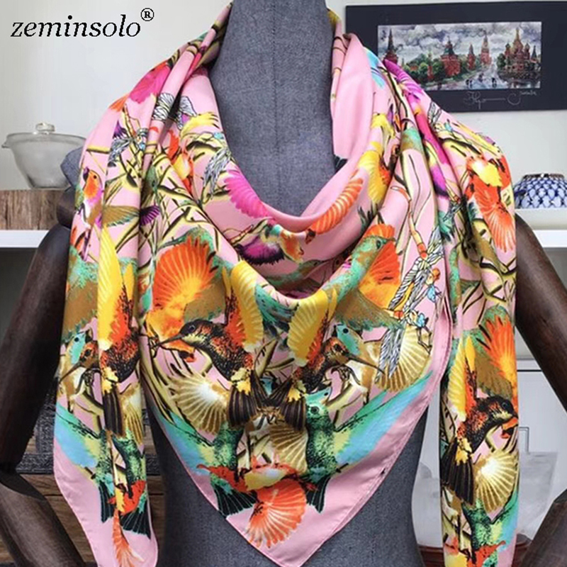2019 130*130cm New Luxury Brand Scarf Bandana Shawls Printed Bird Women 100% Twill Silk Scarf Square Scarves Hijab Headband