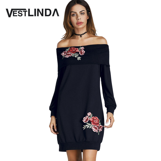 VESTLINDA Off The Shoulder Floral Embroidered Mini Sweatshirt Dress Women  Autumn Casual Black Long Sleeve Vestidos ab733fde4bdd