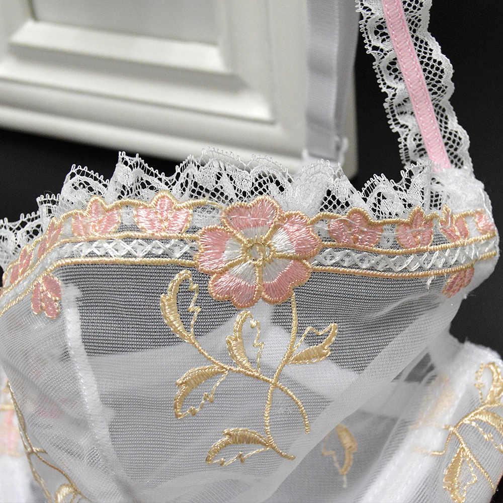 Yeni seksi kadın sütyen külot Satış Ayrılmış setleri çiçek dantel nakış şeffaf ultra ince 70 75 80 85 90 95 100 A B C D E F