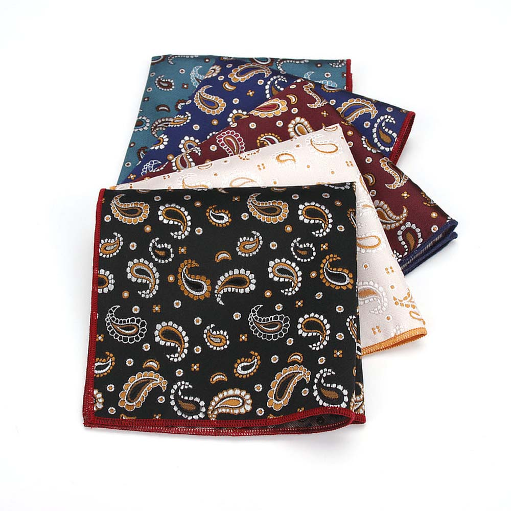 Men Classic Paisley Pocket Square Handkerchief Wedding Party Hanky 5 Color BWTYF0041