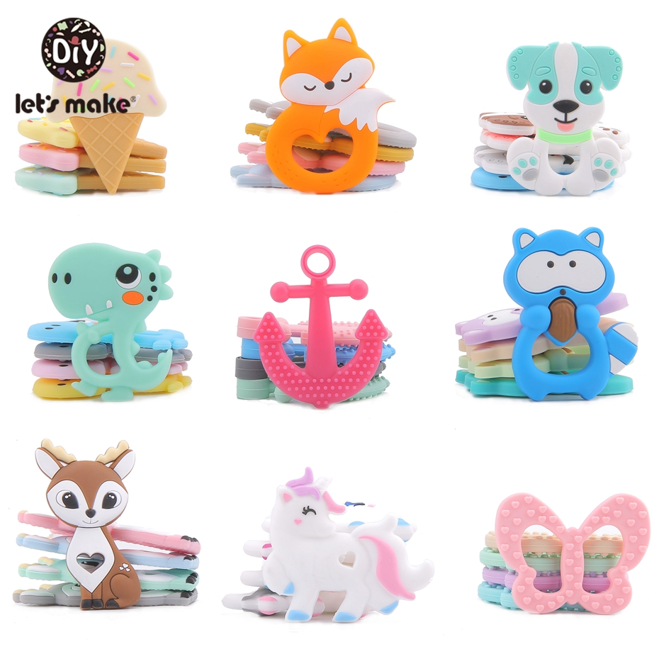 Let'S Make Cartoon 5Pc Silicone Baby Teether Charms Diy Toys For Pacifier Chain With Crib Mobile Bed Hanging Rattle Baby Teether