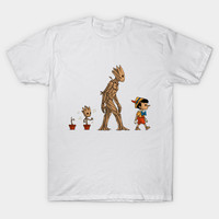2017 New Fashion Men Brand Clothes Groot Evolution Print T Shirt Cool Film Guardians Of The