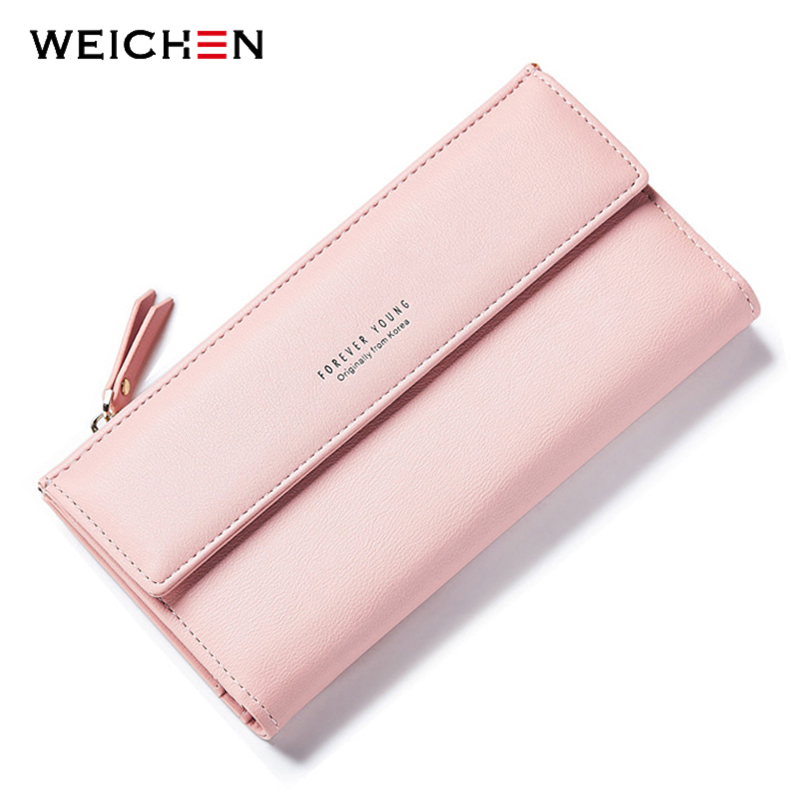 WEICHEN Fashion Korean Style Long Women Wallets Phone Coin Pocket Credit Card Zipper Solid PU Leather Purse Woman Money Bag dudini short mini women pu leather coin purse bag korean simple tassel design money wallets soft zipper student coin pocket