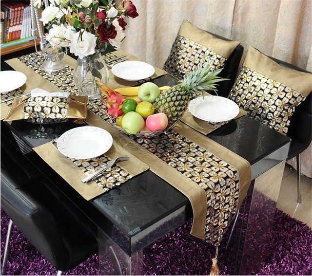 Gold Coffee Dinner Table Runner Cloth The Living Room Decoration Bright Surface Golden