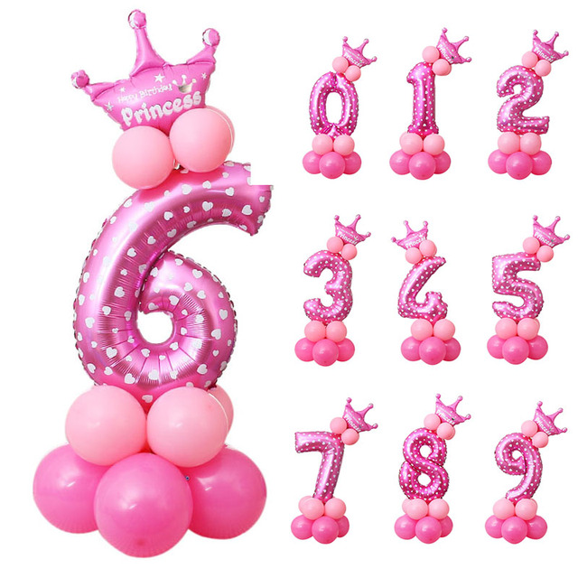 13pcs/set Crown Number Ballons Kid Anniversary 1st Birthday Decorations Princess Prince Boy Girl baloon Happy Birthday Balloon