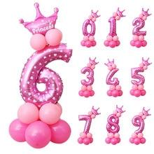 16pcs/set Crown Number Ballons Kid 1st Birthday Party Decorations Kids Princess Prince Boy Girl Baloon Happy Balloon