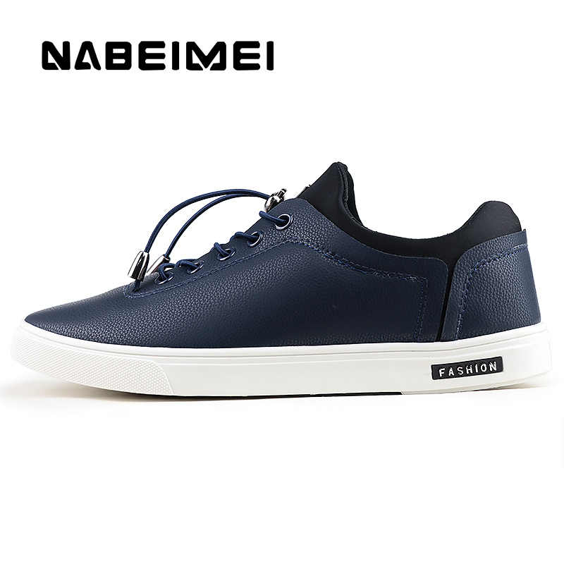 9471d25af3cf0 Men s Vulcanize Shoes shallow designer sneakers for boys massage  hard-wearing leather man shoes elastic band 2019 new