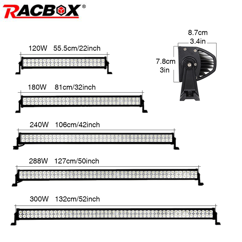 RACBOX 120W 180W 240W 288 300W LED Work Light Bar 22 32 42 50 52 Inch For OffRoad Boat Car Truck 4x4 SUV ATV Fog Lamp Combo Beam
