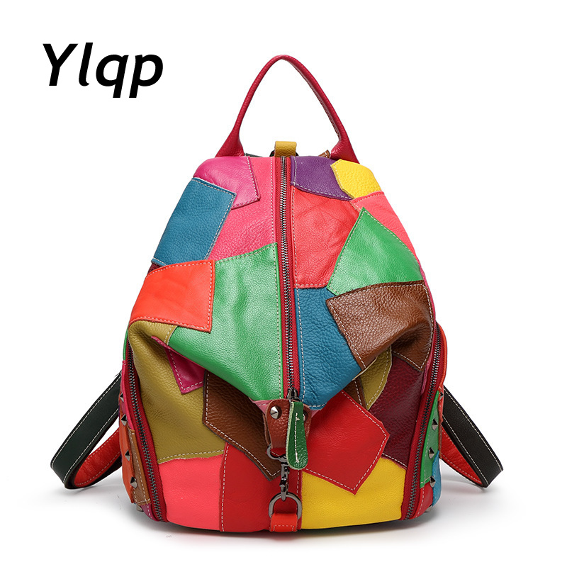 Women Genuine Leather Backpack 2017 New European and American Style Patchwork Tide Fashion Shoulder Bag Mochila new fashion women backpack genuine leather mochila colorful patchwork plaid pattern vintage schoolbag shoulder bag england style