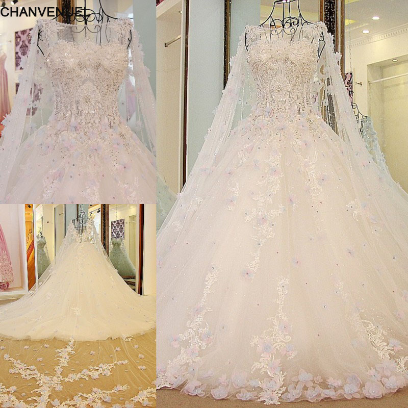 Ls54770 Luxury Bridal Dress With Long Cape Ball Gown Tulle Corset