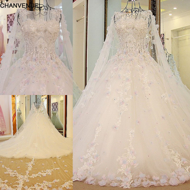 LS54770 Luxury Bridal Dress With Long Cape Ball Gown Tulle Corset ...