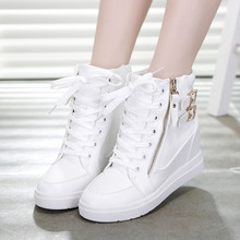 2016 Women High-Top Canvas Shoes Side Zipper Spring And Summer Shoes Platform Breathable shoes