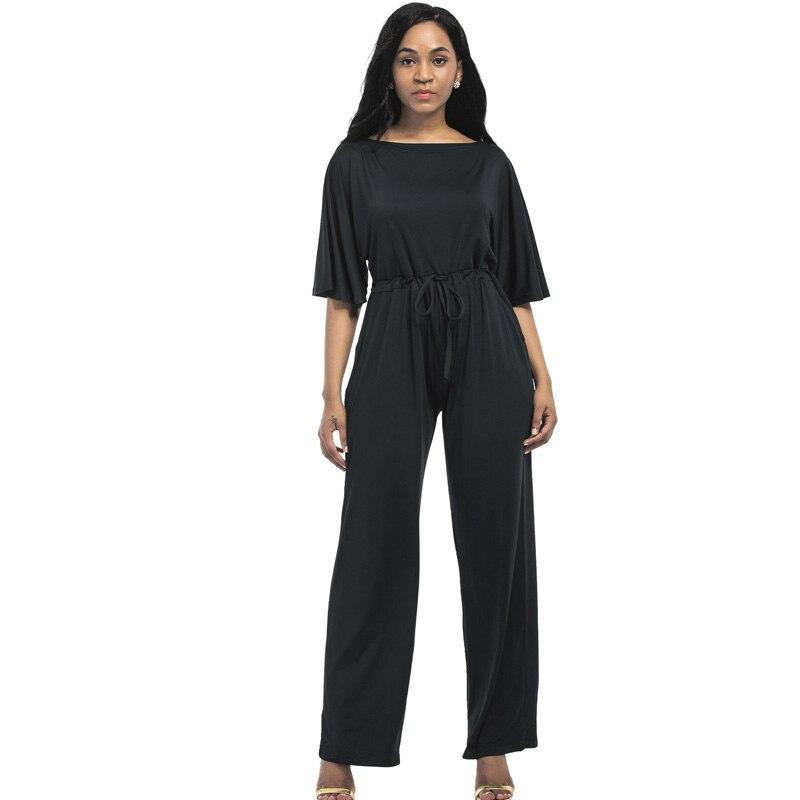 2017 Autumn Fashion Women Jumpsuit Plus Size L-3XL Short Sleeve Loose Elegant Sexy Jumpsuit Big Size Long Front Office Jumpsuit