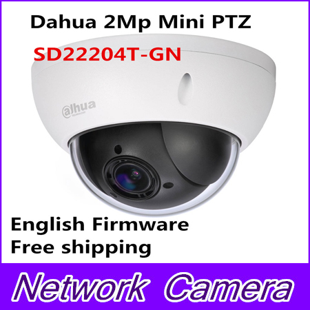 Hot Sale Brand 2Mp Full HD Network Mini PTZ Speed Dome 4x optical zoom Outdoor Camera SD22204T-GN English Firmware Free shipping original dahua 1080p mini ptz ip camera dh sd22204t gn 4x zoom hd network speed dome camera onvif sd22204t gn with power supply