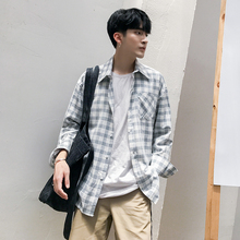 Summer Fall New Plaid Vintage Loose Casual Mens Short Sleeve Shirt Personality Simple Fashion Classic Joker Youth Urban
