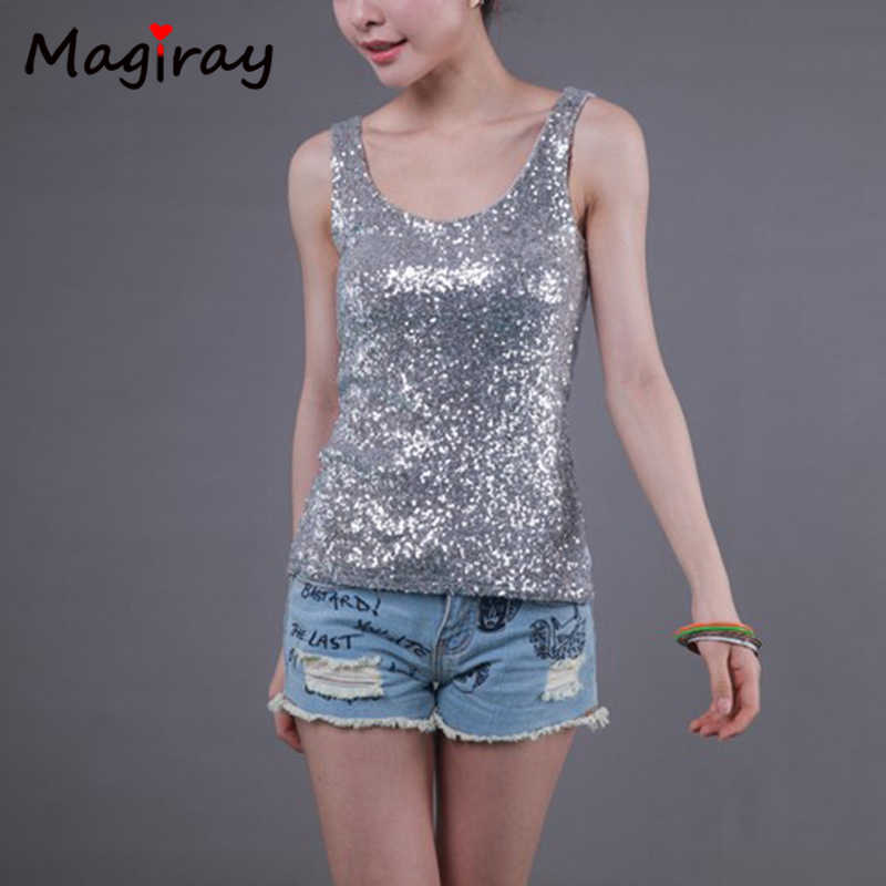 70f1d25d951b New Slim Sequins Bling Womens Tops Fashion 2019 Cotton Patchwork Plus Size  Loose Modal Solid Sleeveless