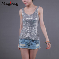 New Slim Sequins Womens Tops Fashion 2015 Cotton Patchwork Plus Size Loose Modal Solid Sleeveless Women