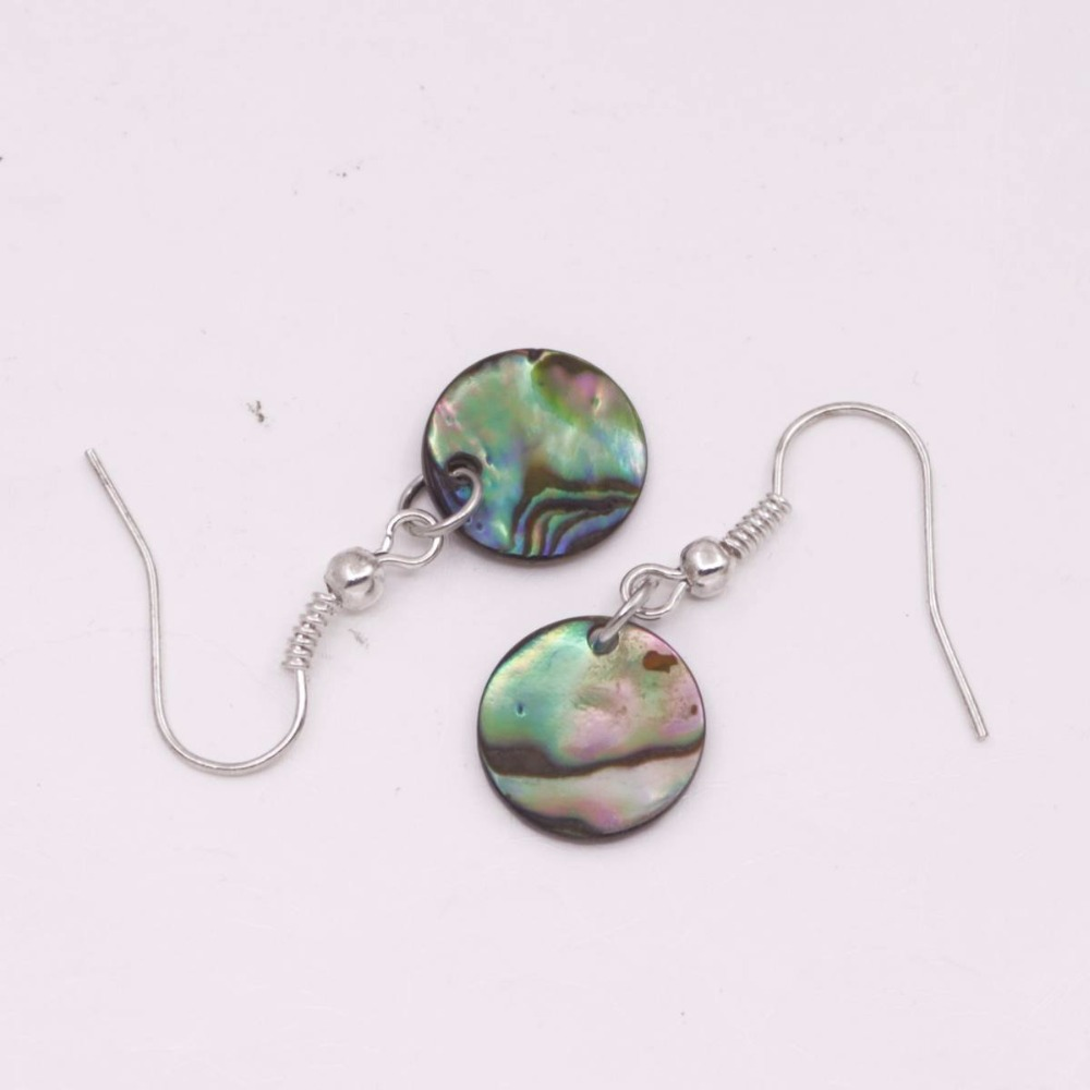 Купить с кэшбэком Beauty Round Disc Natural  green Abalone Shell Drop dangle Hook Earring 12mm 30mm Choose
