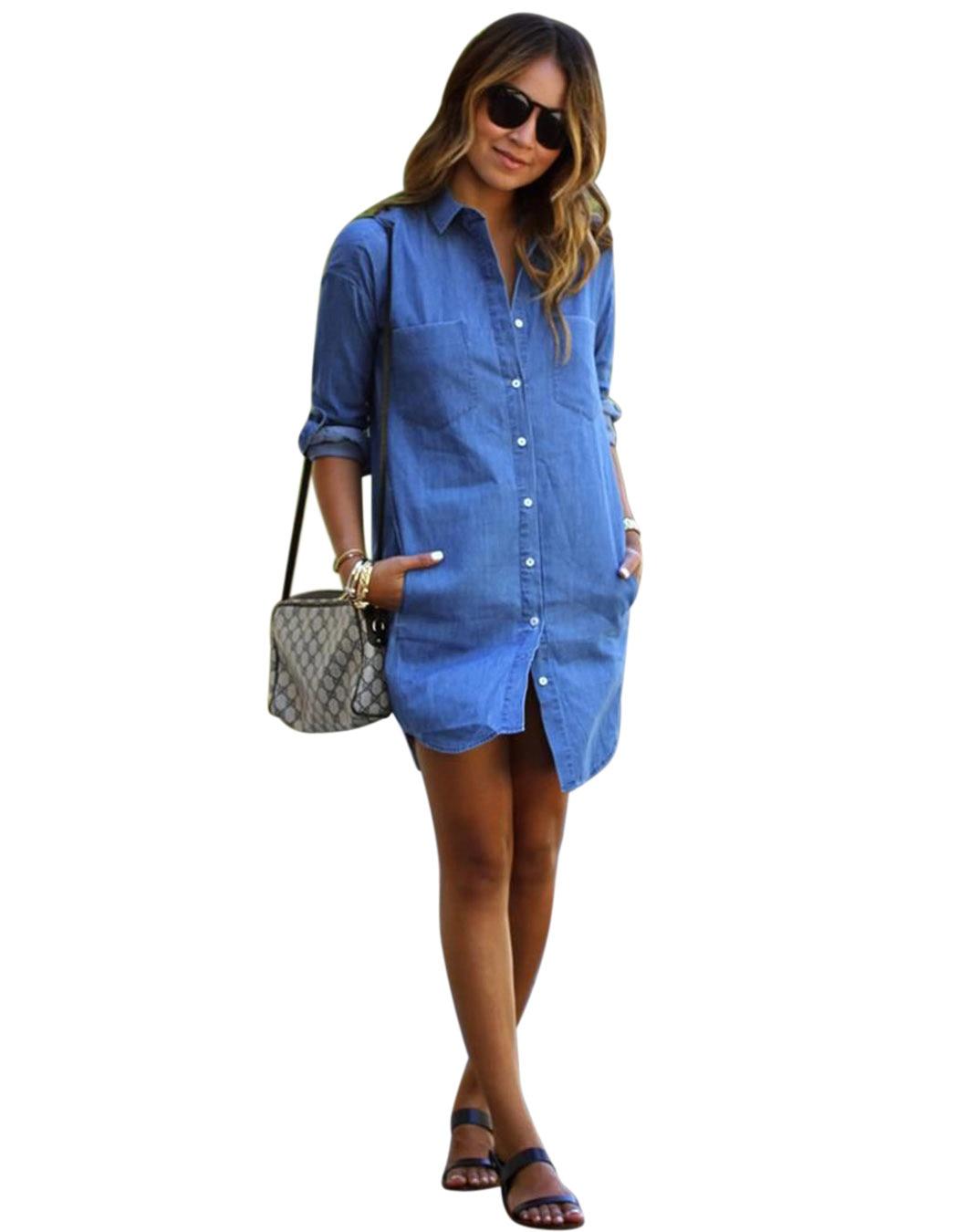 Vestido camisa jean mujer