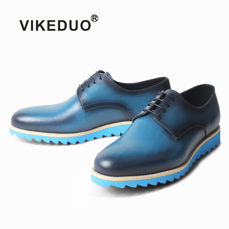 VIKEDUO Handmade Leather Derby Shoes Summer Sports Footwear Mans Patina Blue Wedding Office Mens Dress Shoes Formal Suit ZapatoVIKEDUO Handmade Leather Derby Shoes Summer Sports Footwear Mans Patina Blue Wedding Office Mens Dress Shoes Formal Suit Zapato