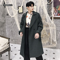 Men Houndstooth Vintage Fashion Business Casual Woolen Jacket Loose Double Breasted Coat Male Long Wool Windbreaker Overcoat