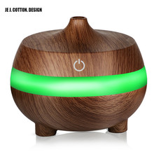 300ML Wooden Grain Air Humidifier USB Aromatherapy Diffuser Ultrasonic with 7 Color LED Lights Essential Oil Aroma