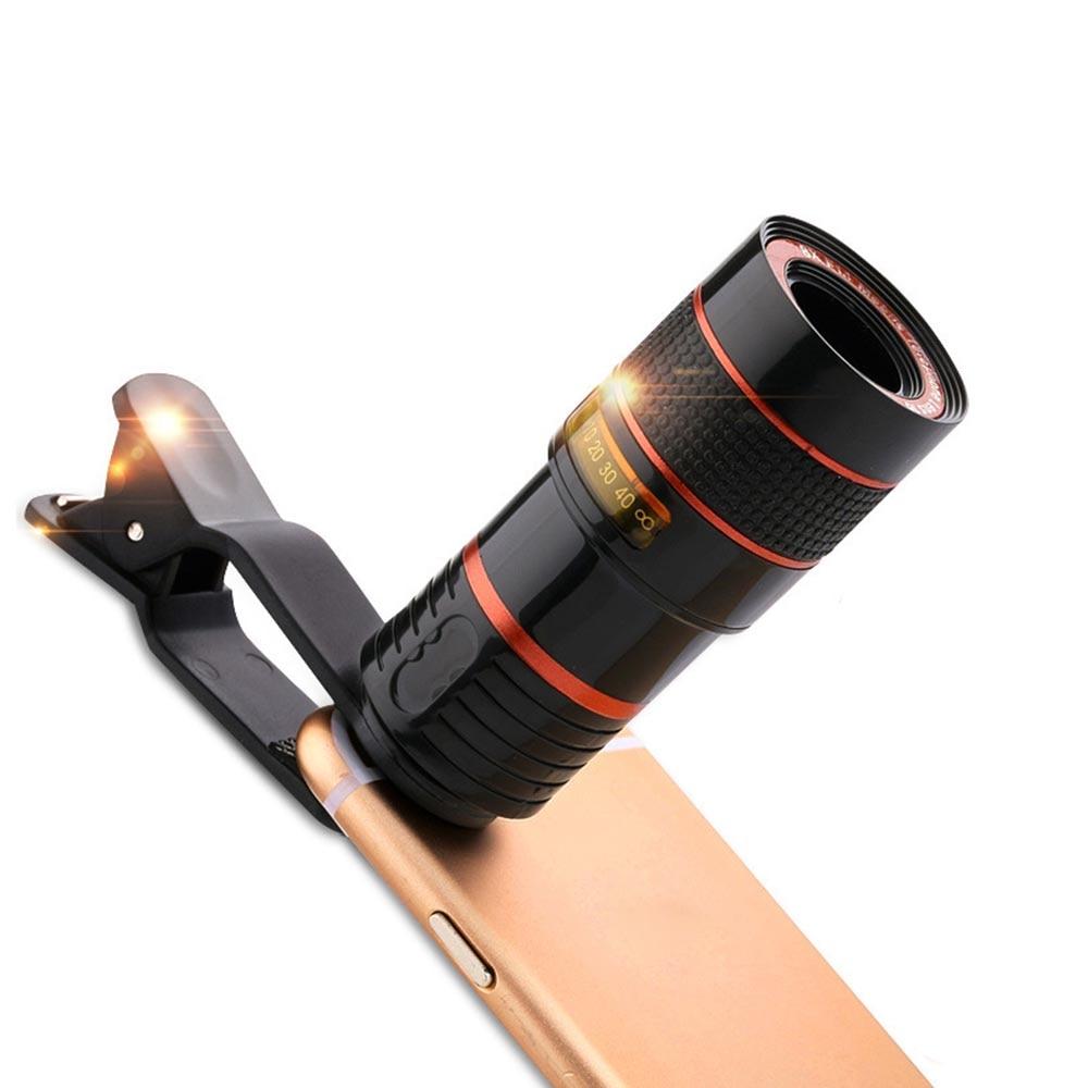 Universal Clip 8X 12X Zoom Handy Teleskop Objektiv Tele Externe Smartphone Kamera Objektiv Für dropping + geschenk Tasche