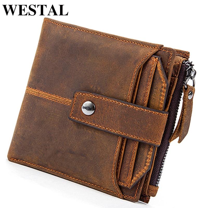 WESTAL RFID Wallets Crazy-Horse Genuine-Leather Purse Business-Card Vintage Short/slim