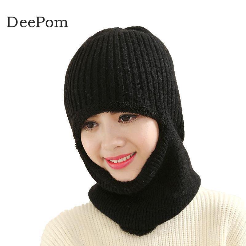 Deepom Winter Hat   Skullies     Beanies   Hat Winter   Beanies   For Women Men Wool Scarf Cap Balaclava Mask Gorras Bonnet Knitted Hat