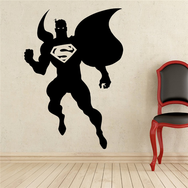 Delightful Comics Art Superman Wall Decal Superhero Sticker Home Decoration Any Room  Waterproof Removable Wall Stickers #