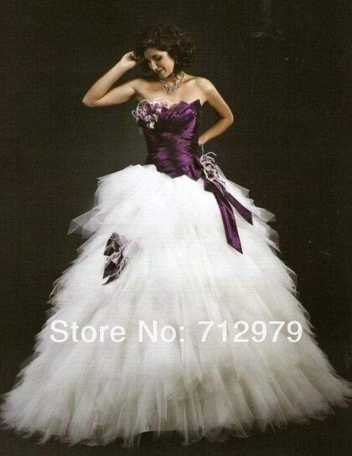2015 New StyleNew White and Dark Purple Wedding dress Bridal Dress ...