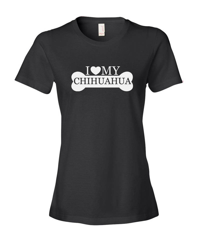Hipster Tees Crew Neck Short Sleeve Christmas Womens I Love My Chihuahua Shirt