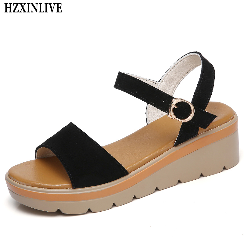 HZXINLIVE 2018 Fashion Summer Wedges Non-slip Sandals Women Matched Breathable Sandals Female Black Casual Shoes Sandalias Mujer new women sandals low heel wedges summer casual single shoes woman sandal fashion soft sandals free shipping