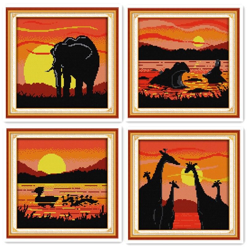 Beautiful sunset scenery cross stitch kit pattern elephant hippo duck giraffe animal series handmade DIY decoration gift