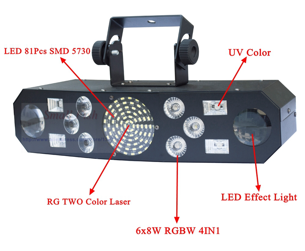 Professional 5IN1 Pattern Effect RGBW Audio Star Whirlwind Laser Projector Stage Disco DJ Club Bar KTV Family Party Light Show - 2