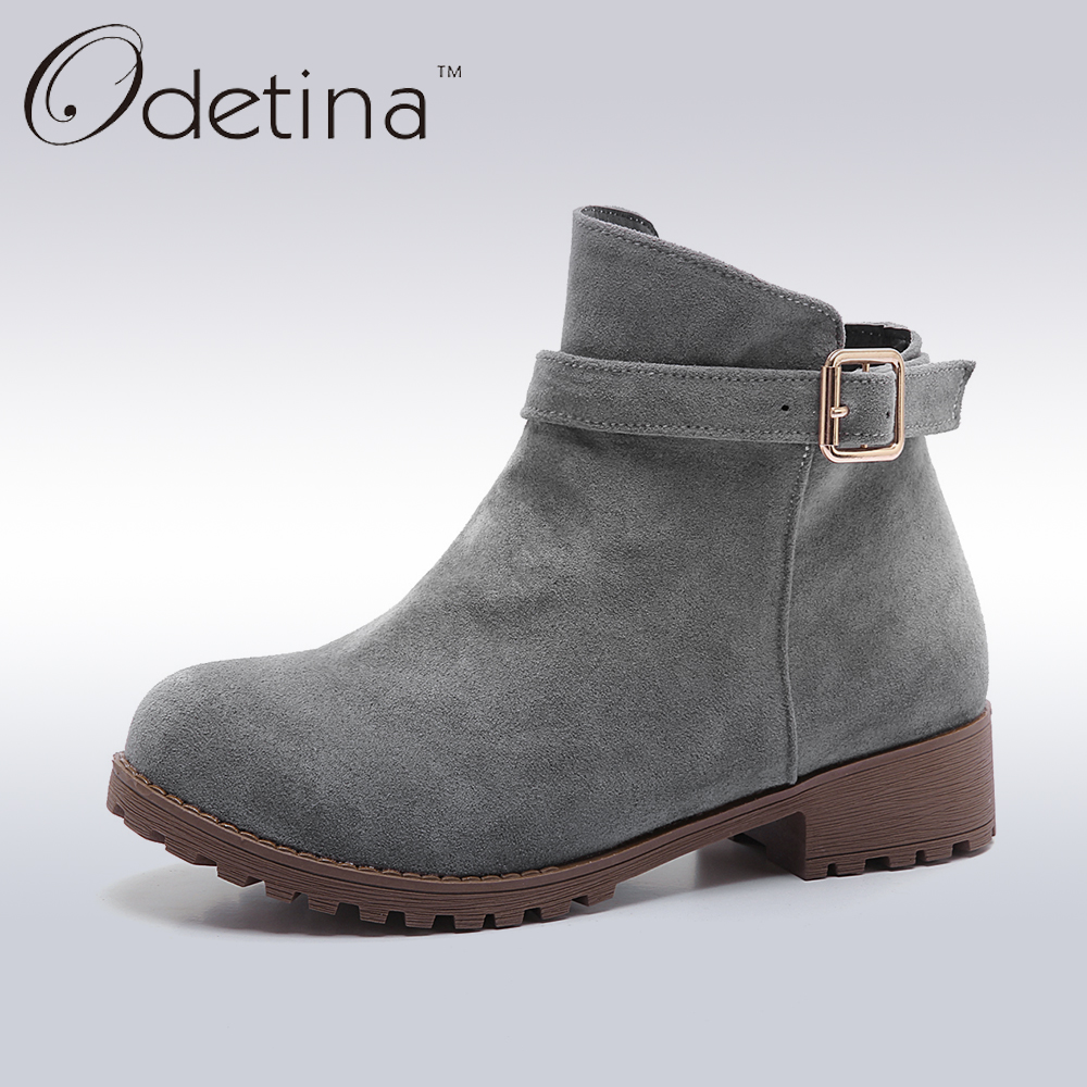 Odetina 2017 Fashion Faux Suede Womens Ankle Boots Buckle Strap Side Zipper Flat Ankle Boots Chunky Heel Round Toe Casual Shoes womens high boots vogue side zipper botas invierno mujer fashion buckle block chunky heel sapatos mulher suede size us 4 10 5