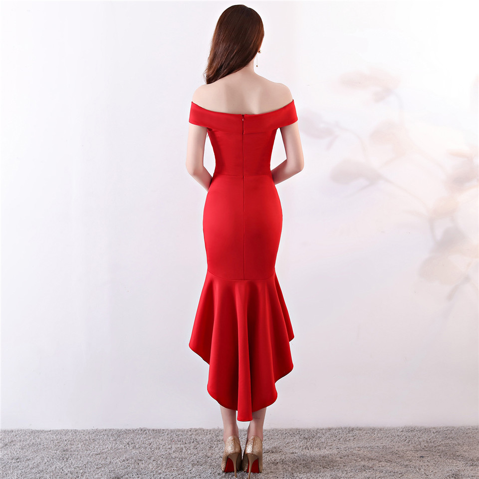 It's Yiiya evening gowns Strapless Knee-length short sleeve party dresses Royal Backless zipper back Mermaid Prom dress C168