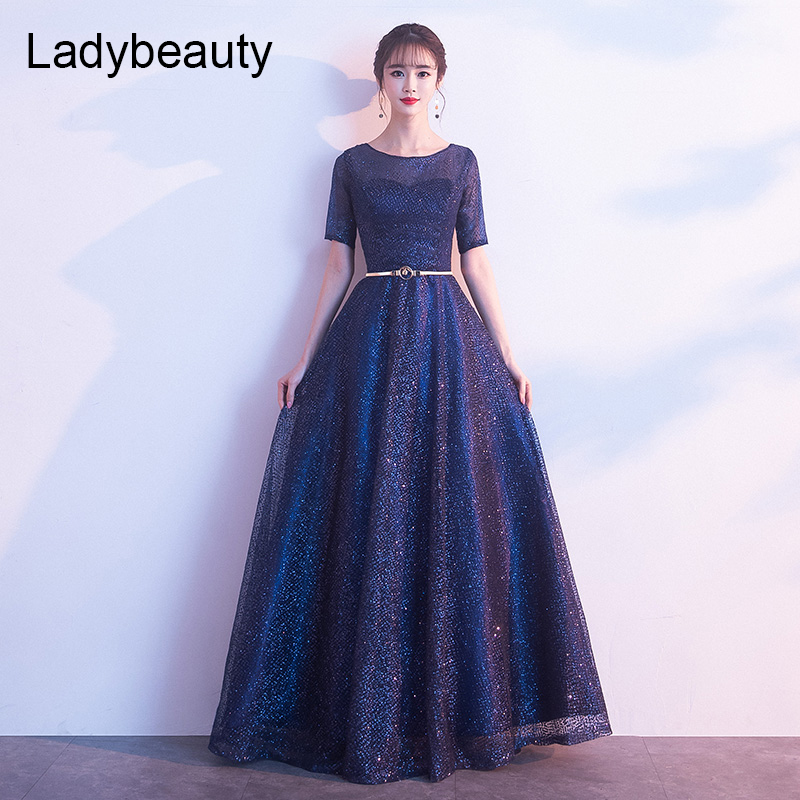 Ladybeauty 2019 Mother Of The Bride Dress The Banquet Elegant Navy Blue Short Sleeves Lace Long Party Formal Gown