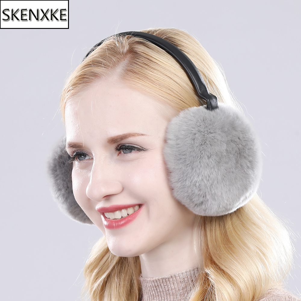 New Real Fur Ear-cap Winter Women Warm Natural Rex Rabbit Fur Earmuff Lady Fashion Fluffy Pompoms Genuine Rex Rabbit Fur Earlap
