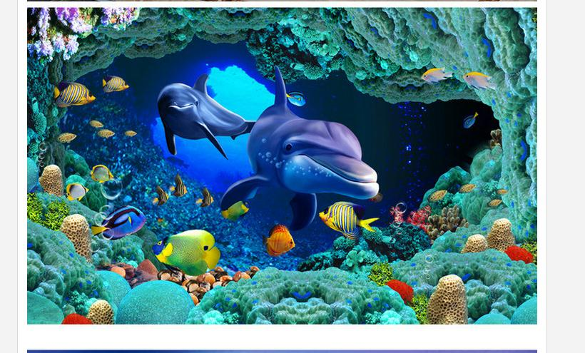 Free shipping custom mural 3d non-woven wallpaper Sea World Dolphin HD stereo ceiling ceiling frescoes beauty wall decoration