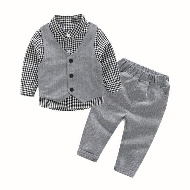 Bebê recém-nascido Menino Cinza Colete + Calças Compridas + Camisas Conjuntos de Roupas Terno 3 pcs Jan18