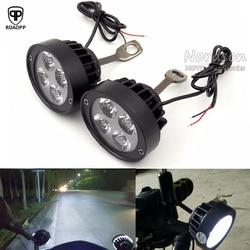 ROAOPP Универсальный 2 шт. светодиодный мотоциклетный точечный прожектор для мотоцикла, вспомогательная лампа, боковое зеркало, монтажный све...