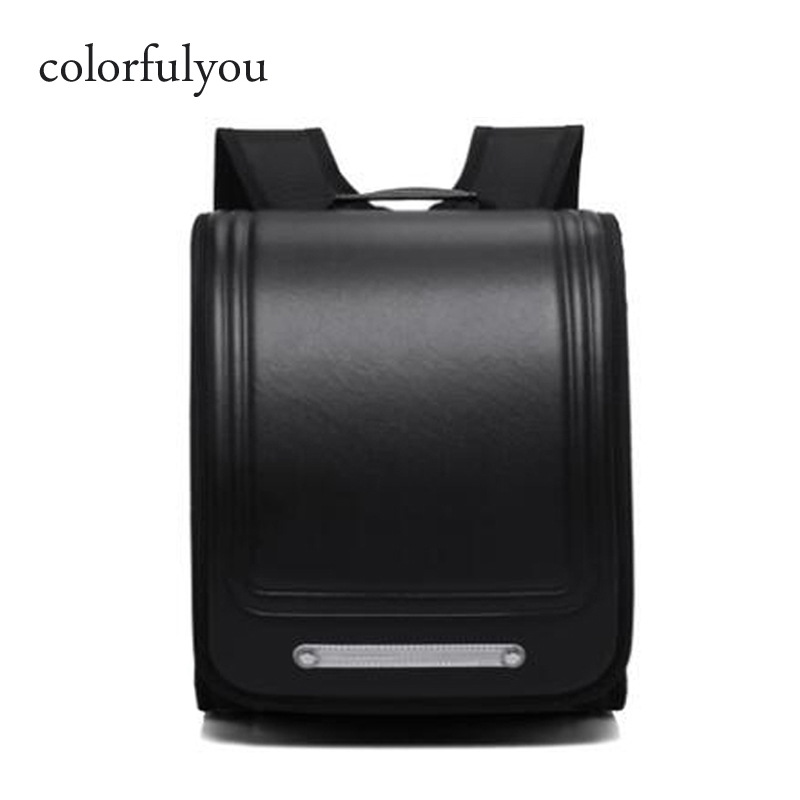 Colorfulyou Brand 2019 New School Bags Orthopedic Backpack For Boys And Girls Waterproof PU Randoseru Backpack Japan Student Bag